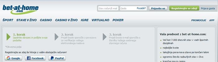 Bet-at-home registracija